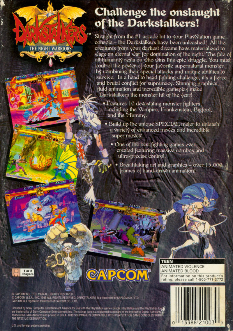 Darkstalkers: The Night Warriors PlayStation Back Cover