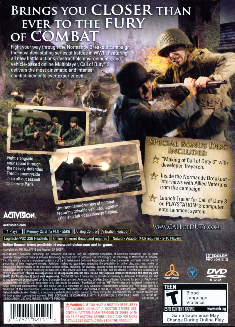 Call of Duty 3 (Special Edition) PlayStation 2 Back Cover