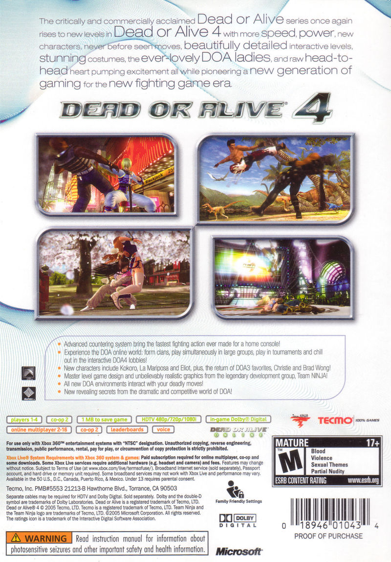 Dead or Alive 4 Xbox 360 Back Cover
