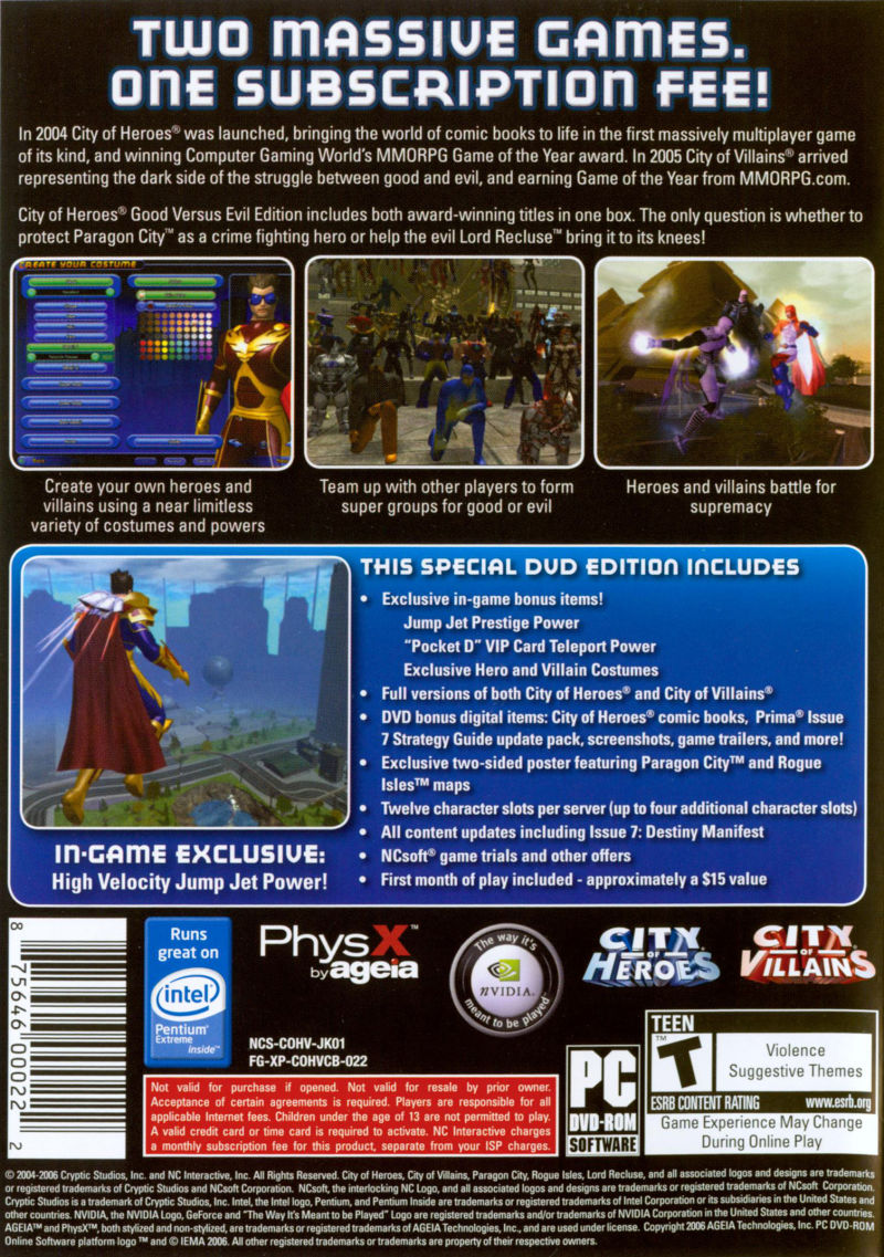 City of Heroes (Good Versus Evil Edition) Windows Back Cover