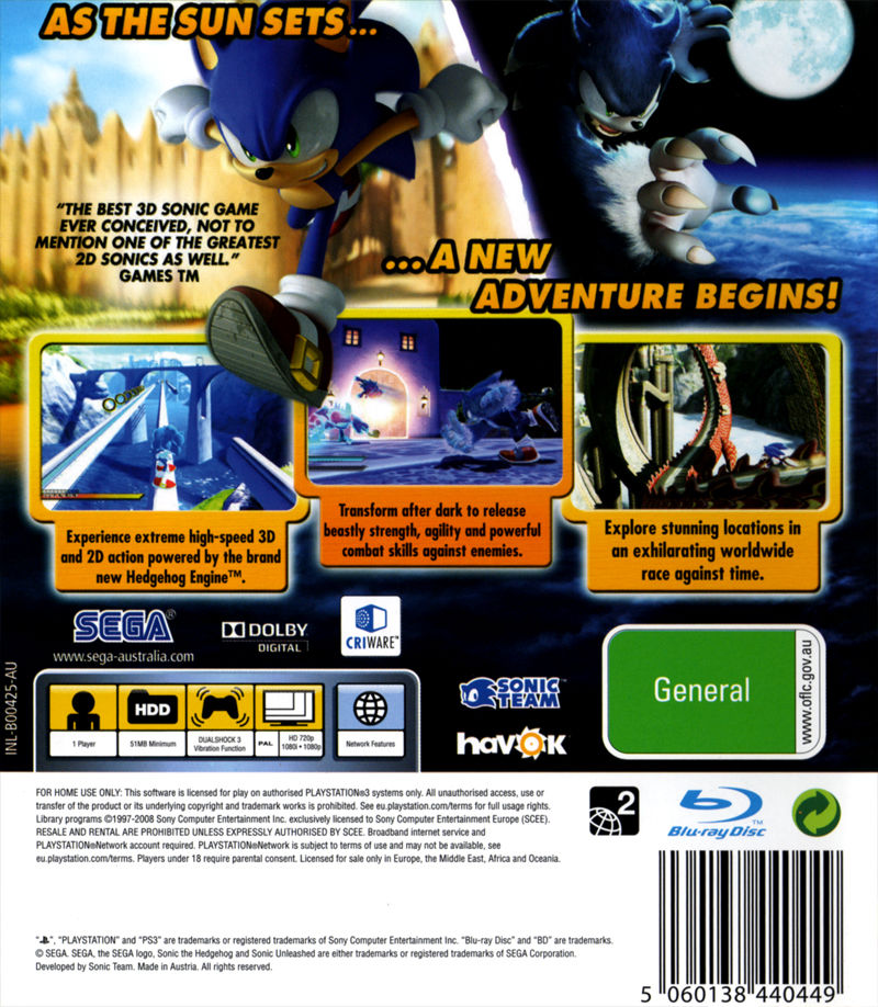 Sonic Unleashed PlayStation 3 Back Cover