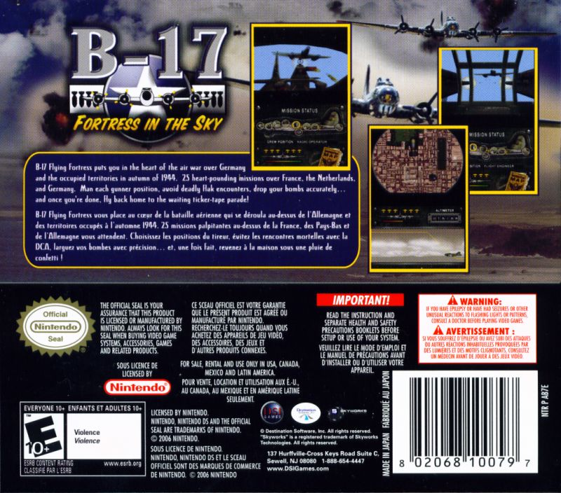 B-17: Fortress in the Sky Nintendo DS Back Cover