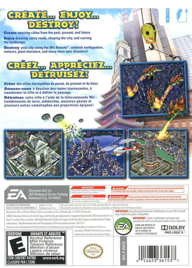 SimCity Creator Wii Back Cover