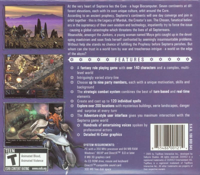 Septerra Core: Legacy of the Creator Windows Back Cover