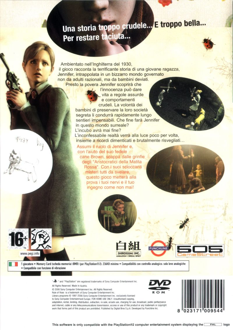 Rule of Rose PlayStation 2 Back Cover