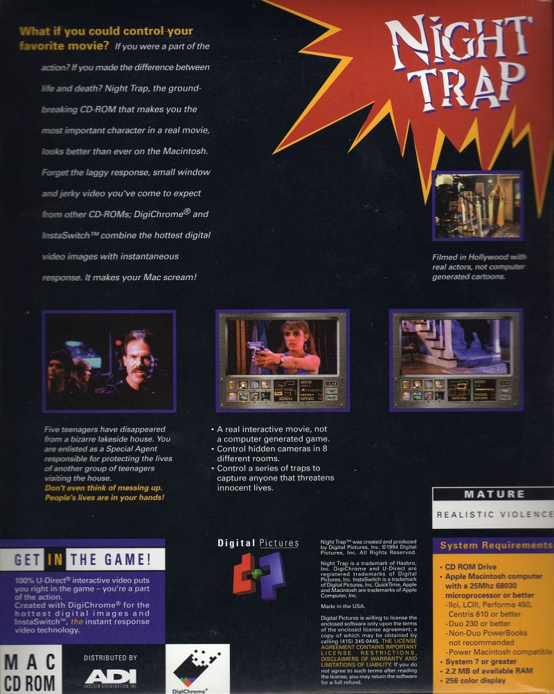 Night Trap Macintosh Back Cover