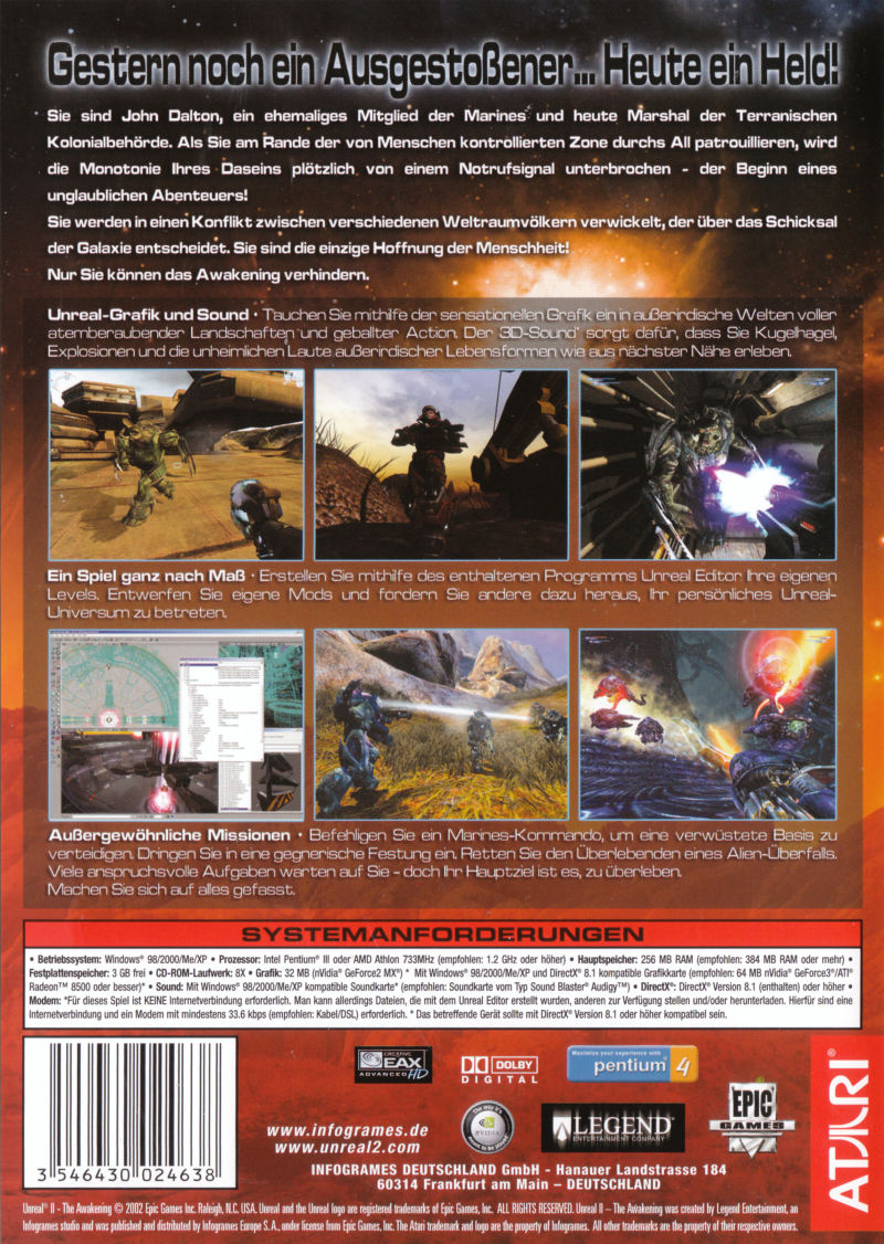Unreal: Gold Edition Linux Other Unreal II - Keep Case - Back