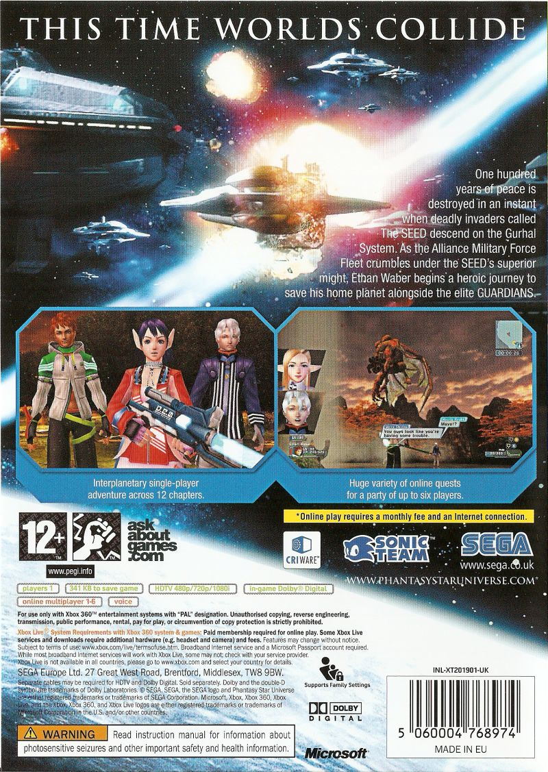 Phantasy Star Universe Xbox 360 Back Cover