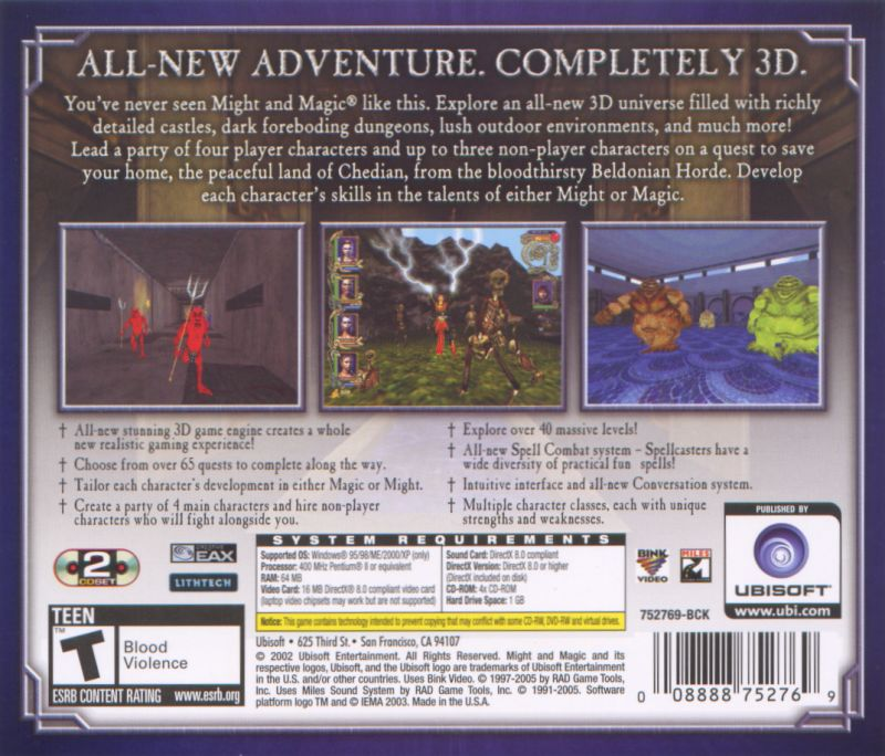 Might and Magic IX Windows Back Cover