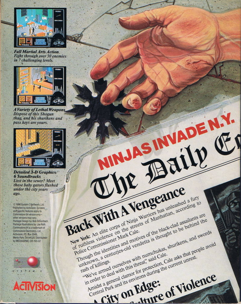 Last Ninja 2: Back with a Vengeance Commodore 64 Back Cover