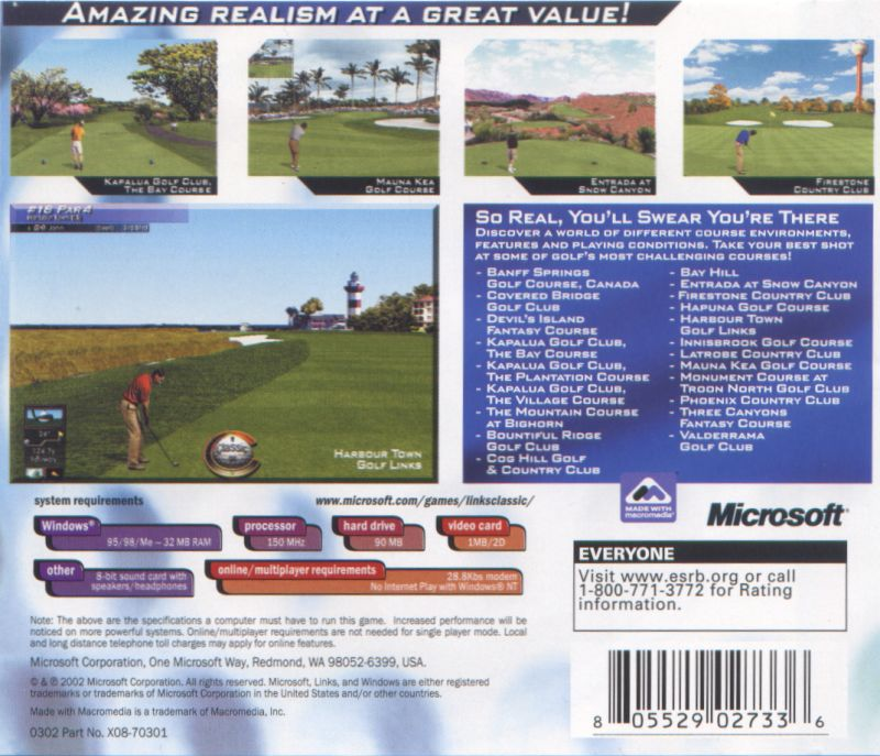 Links LS Classic Windows Back Cover