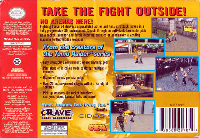 Fighting force 1999 nintendo 64 box cover art mobygames