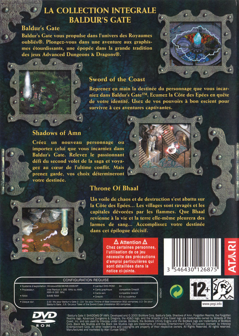 Baldur's Gate: 4 in 1 Boxset Windows Back Cover