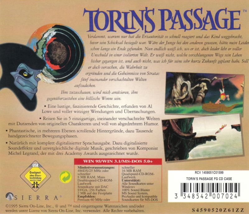 Torin's Passage DOS Other Jewel Case - Back