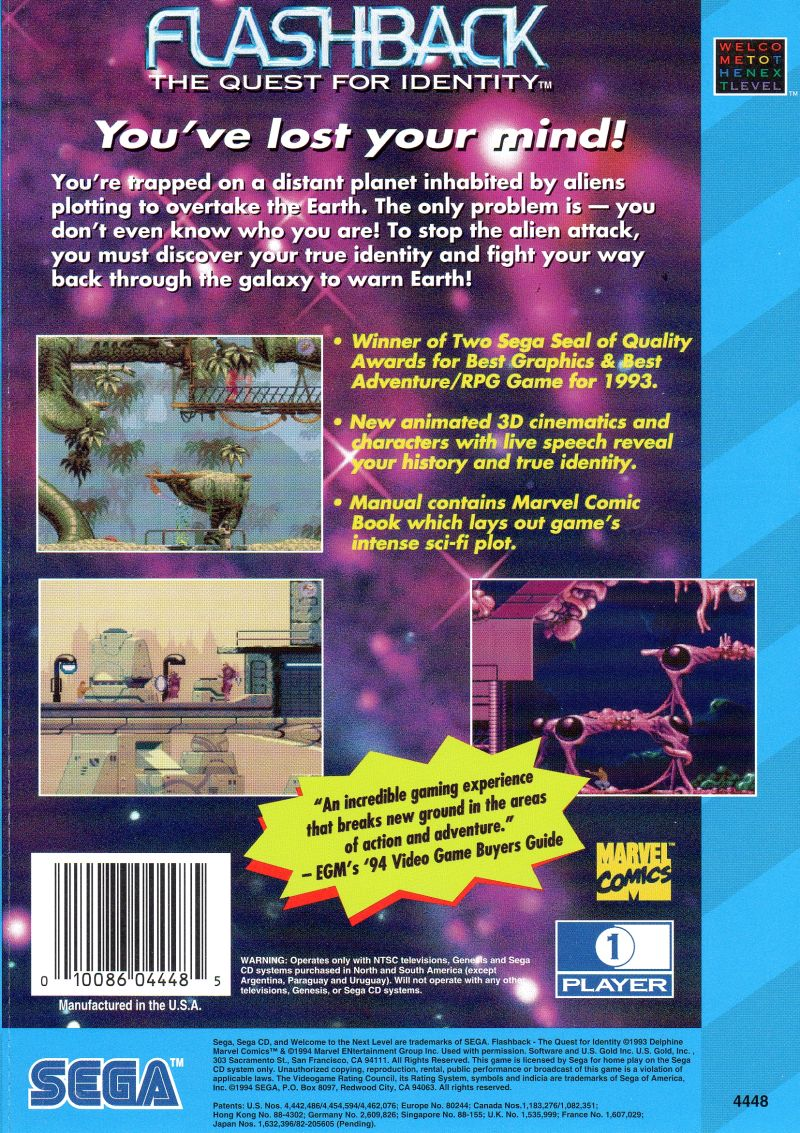 Flashback: The Quest for Identity SEGA CD Back Cover