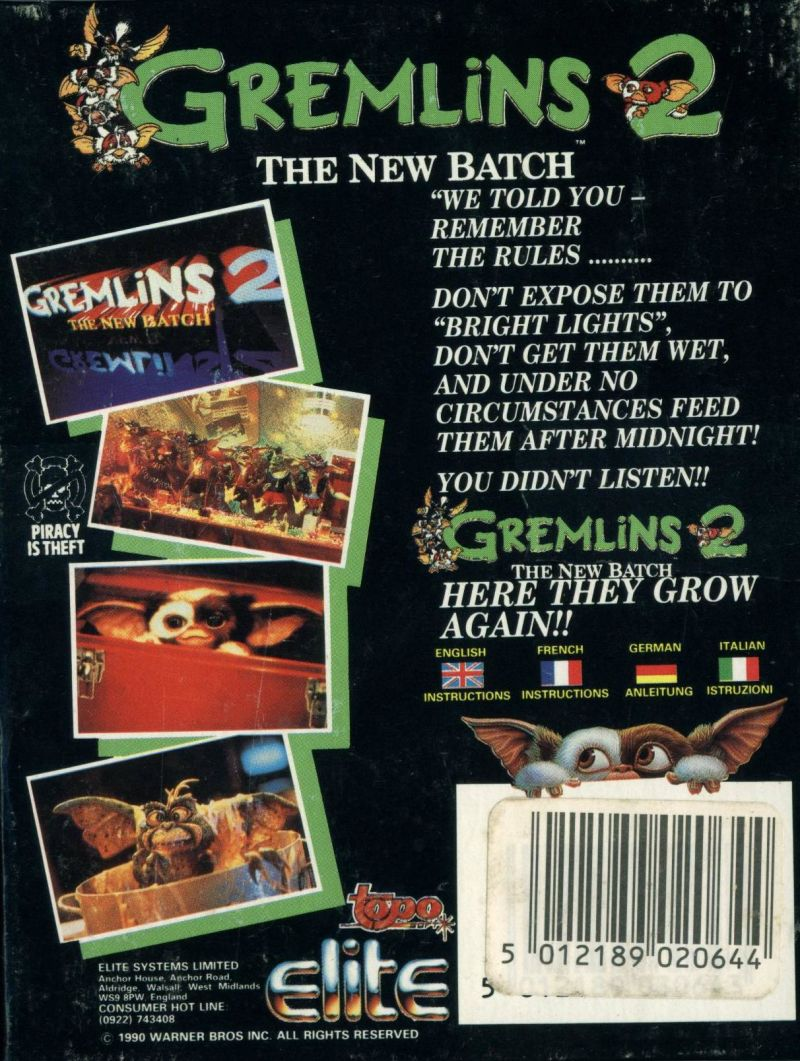 Gremlins 2: The New Batch ZX Spectrum Back Cover