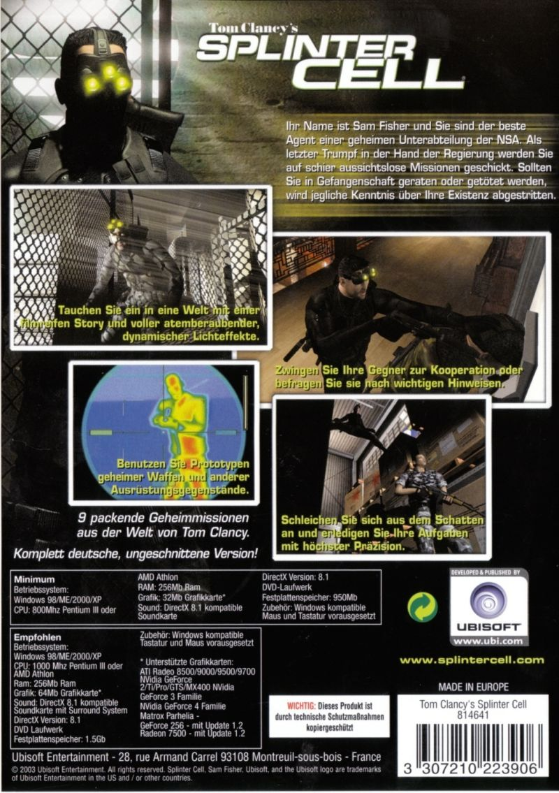 Tom Clancy's Splinter Cell Trilogy Windows Other Keep Case - Splinter Cell - Back