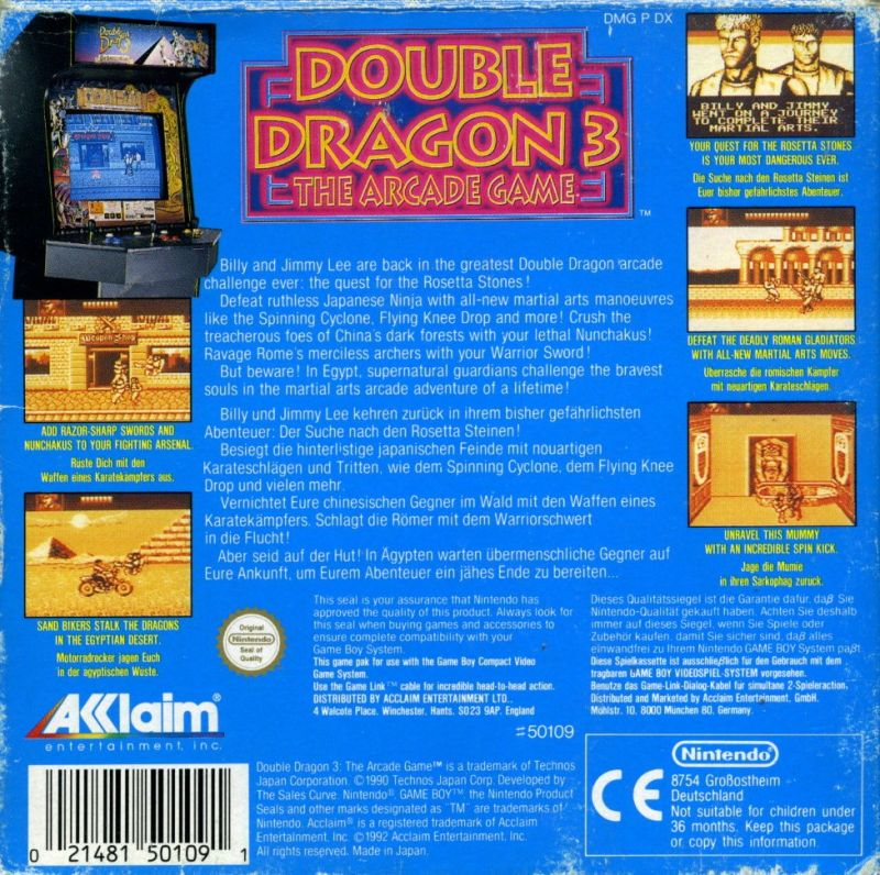 Double Dragon III: The Sacred Stones Game Boy Back Cover