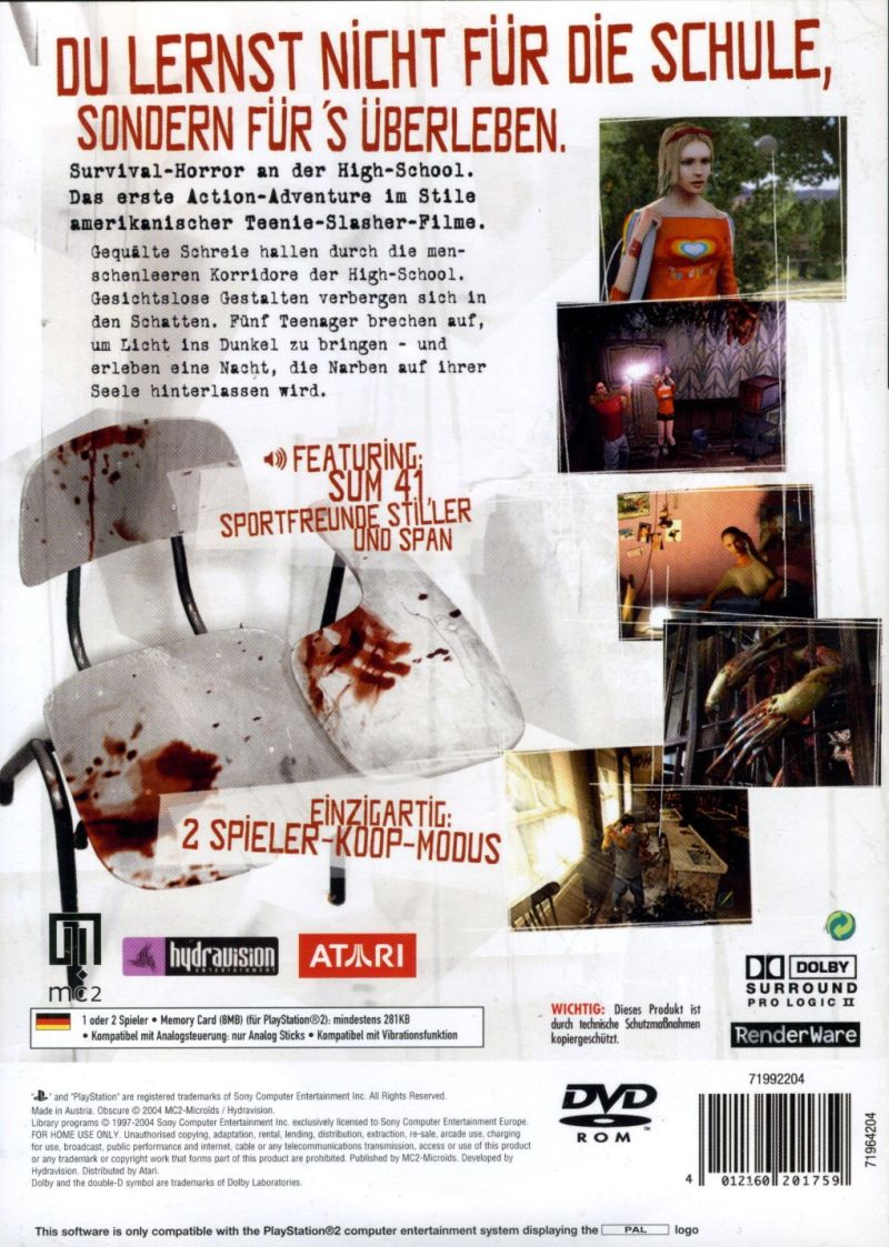 ObsCure PlayStation 2 Back Cover