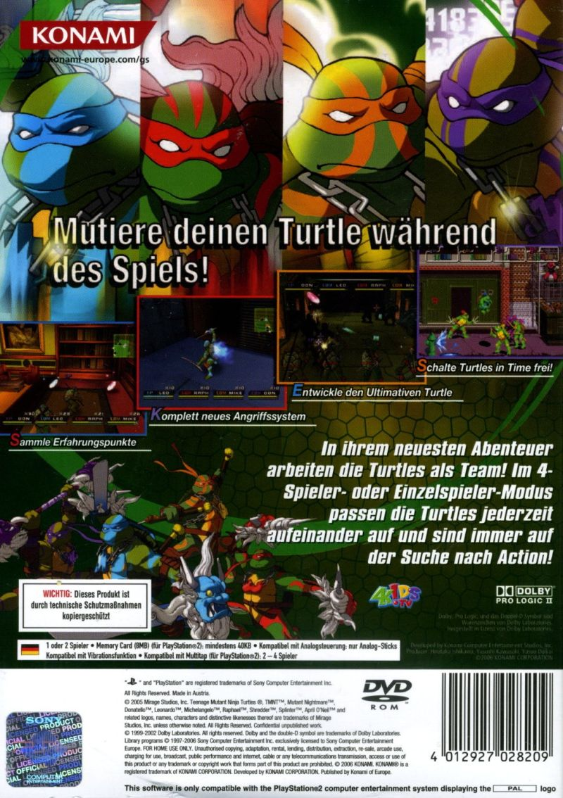 Teenage Mutant Ninja Turtles 3: Mutant Nightmare PlayStation 2 Back Cover