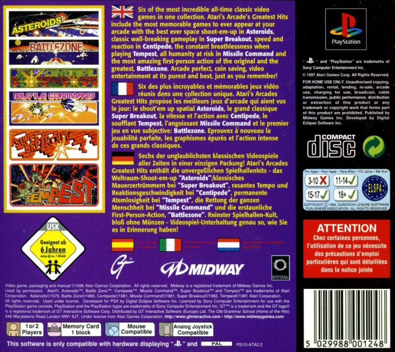 Arcade's Greatest Hits: The Atari Collection 1 PlayStation Back Cover