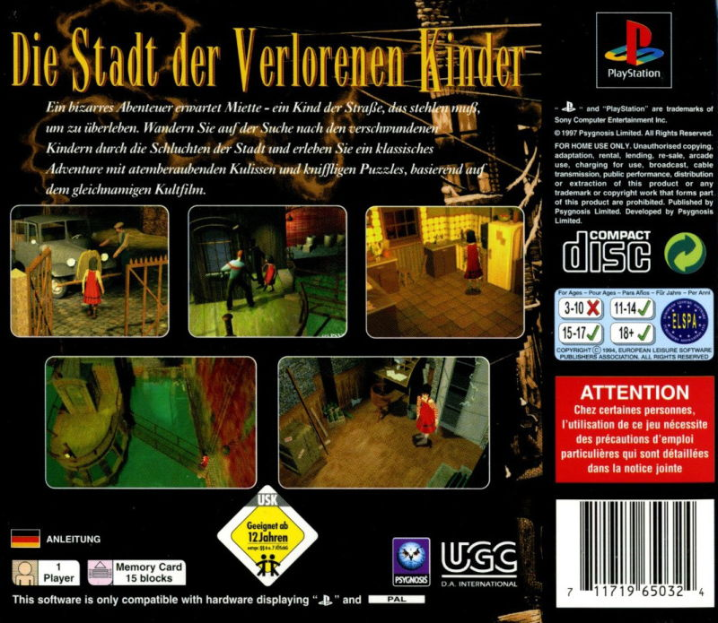The City of Lost Children PlayStation Back Cover