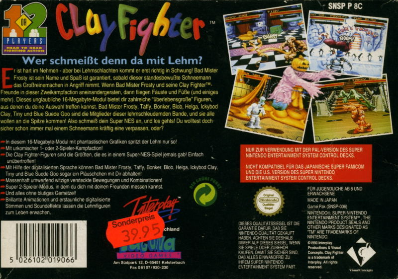 Clay Fighter SNES Back Cover