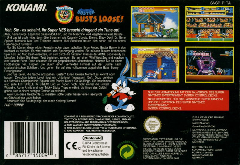 Tiny Toon Adventures: Buster Busts Loose! SNES Back Cover