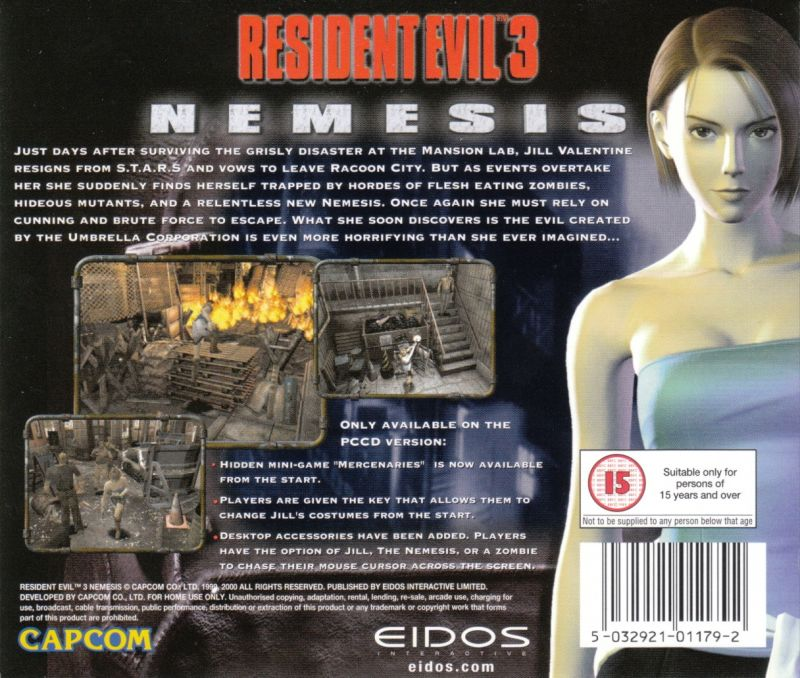 Resident Evil 3: Nemesis Windows Other Jewel Case - Back