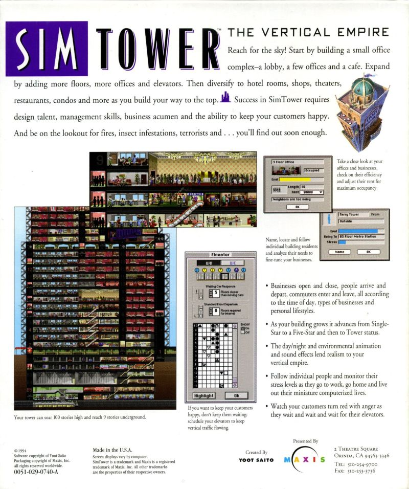 SimTower: The Vertical Empire Macintosh Back Cover