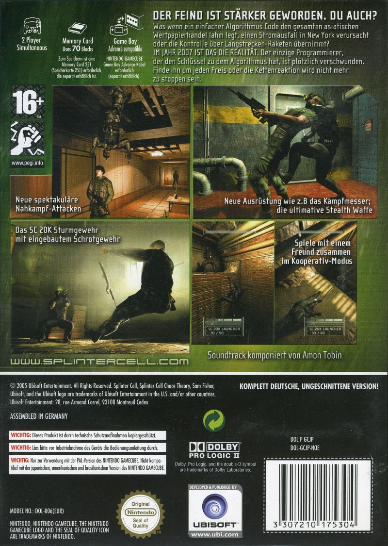 Tom Clancy's Splinter Cell: Chaos Theory GameCube Back Cover