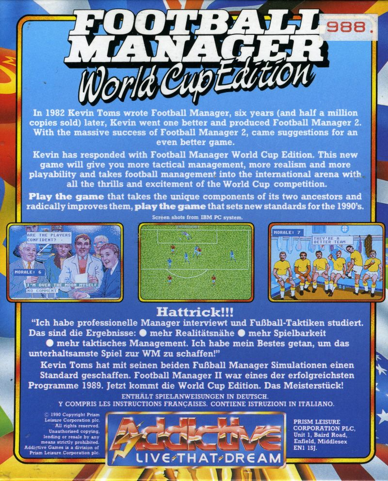 Football Manager: World Cup Edition 1990 Commodore 64 Back Cover