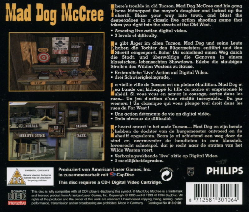 Mad Dog McCree CD-i Back Cover