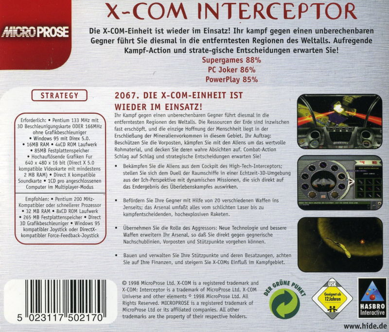 X-COM: Interceptor Windows Back Cover