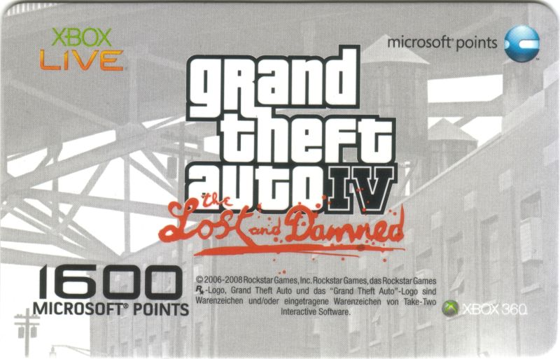 Grand Theft Auto IV: The Lost and Damned Xbox 360 Other Pre-paid Card - Front