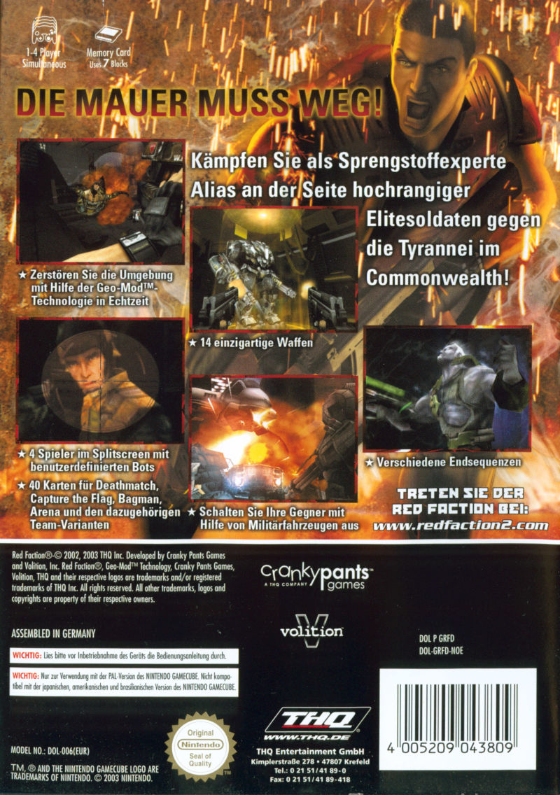 Red Faction II GameCube Back Cover