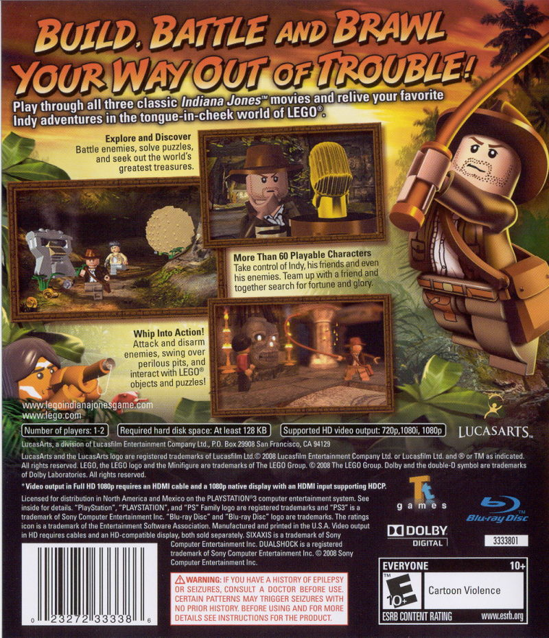LEGO Indiana Jones: The Original Adventures PlayStation 3 Back Cover