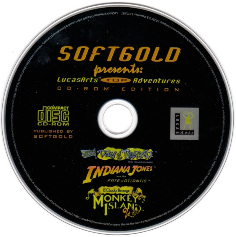 Softgold presents: LucasArts Top Adventures (CD-Rom Edition) DOS Media