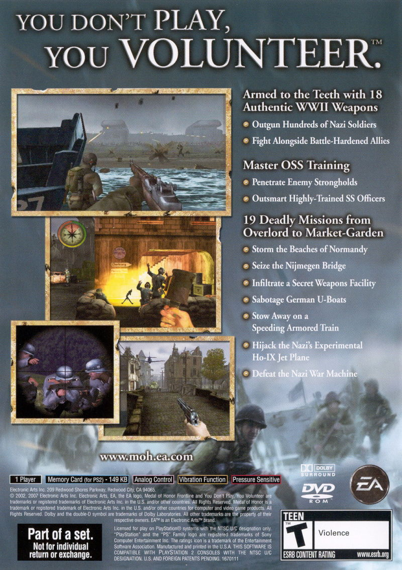 Medal of Honor Collection PlayStation 2 Other Medal of Honor: Frontline - Keep Case - Back