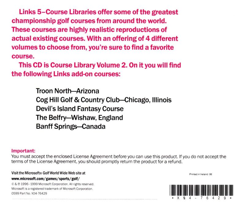 Links: 5-Course Library - Volume 2 DOS Other Jewel Case - Back