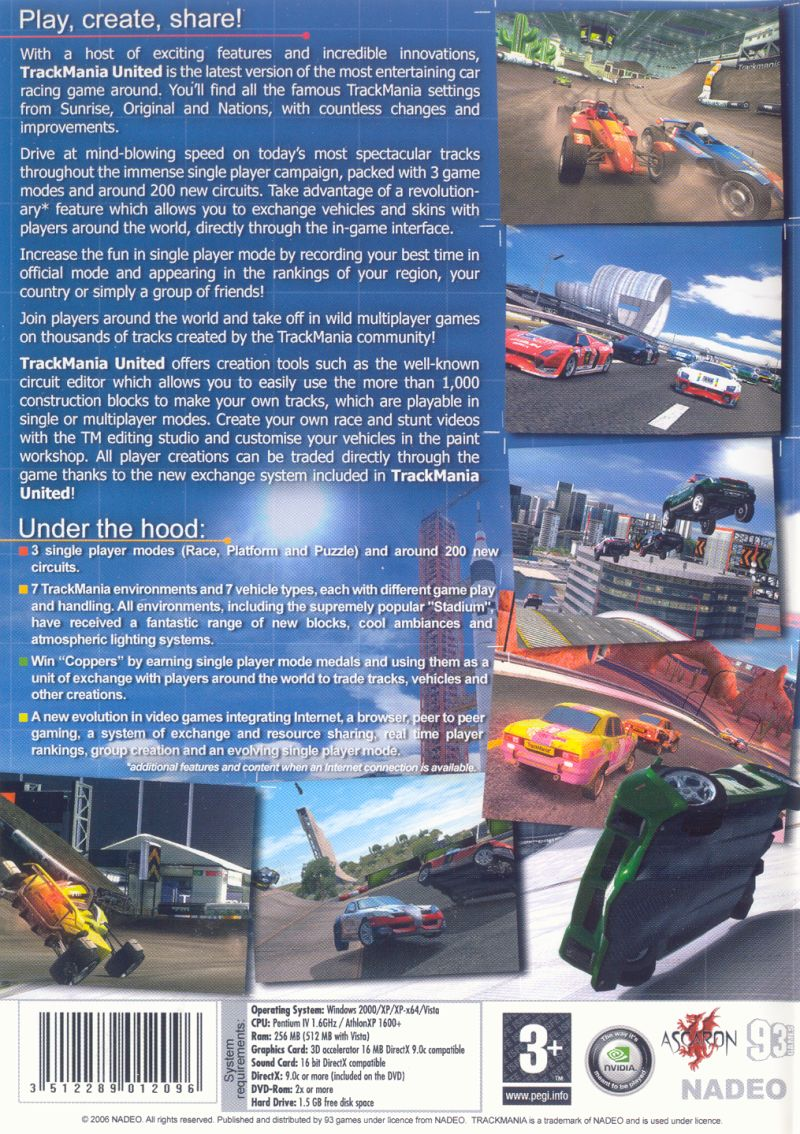 TrackMania United Windows Other Keep Case - Back