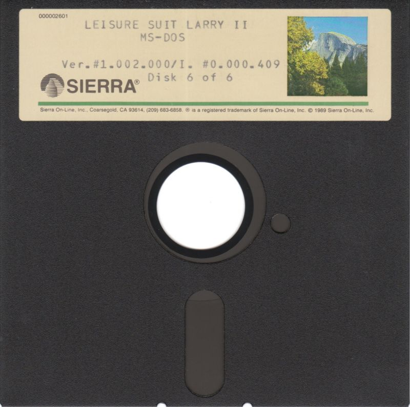 "Leisure Suit Larry Goes Looking for Love (In Several Wrong Places) DOS Media 5.25"" Disk 6/6"