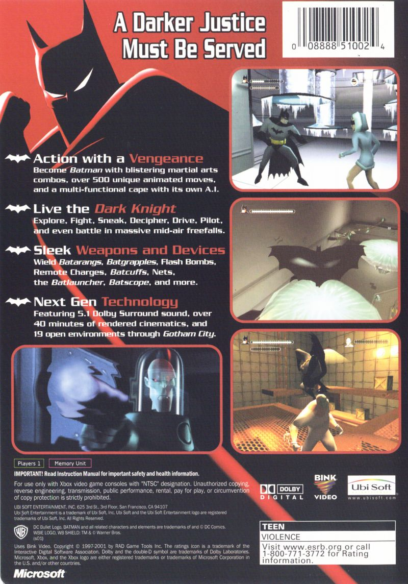Batman: Vengeance Xbox Back Cover