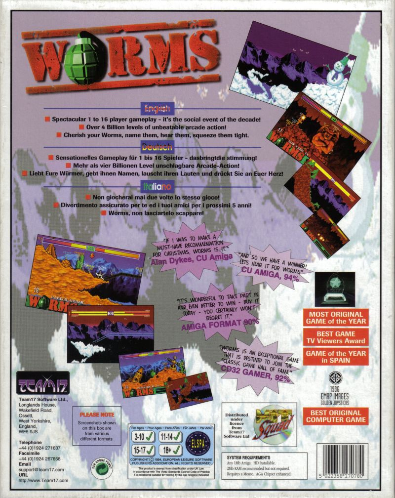 Worms Amiga Back Cover