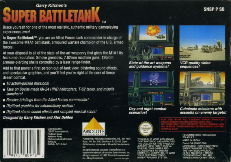 Super Battletank SNES Back Cover