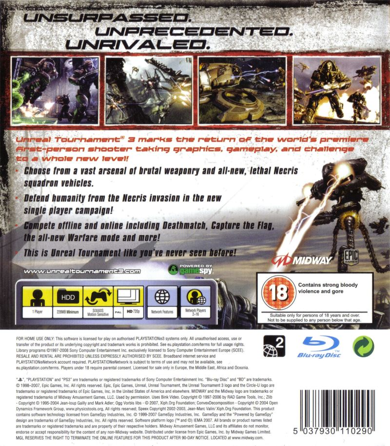 Unreal Tournament III PlayStation 3 Back Cover