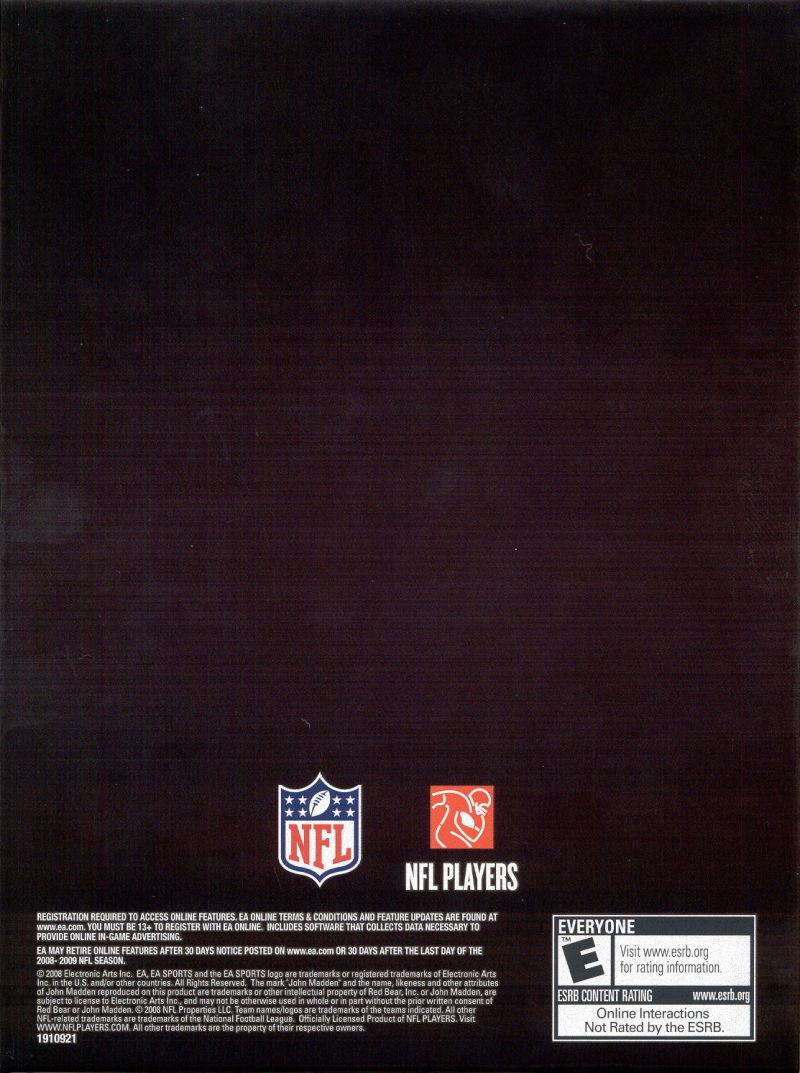 Madden NFL: XX Years (Collector's Edition) PlayStation 3 Other Keep Case - Back
