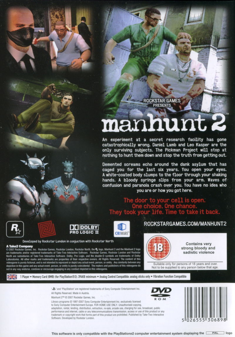 Manhunt 2 PlayStation 2 Back Cover