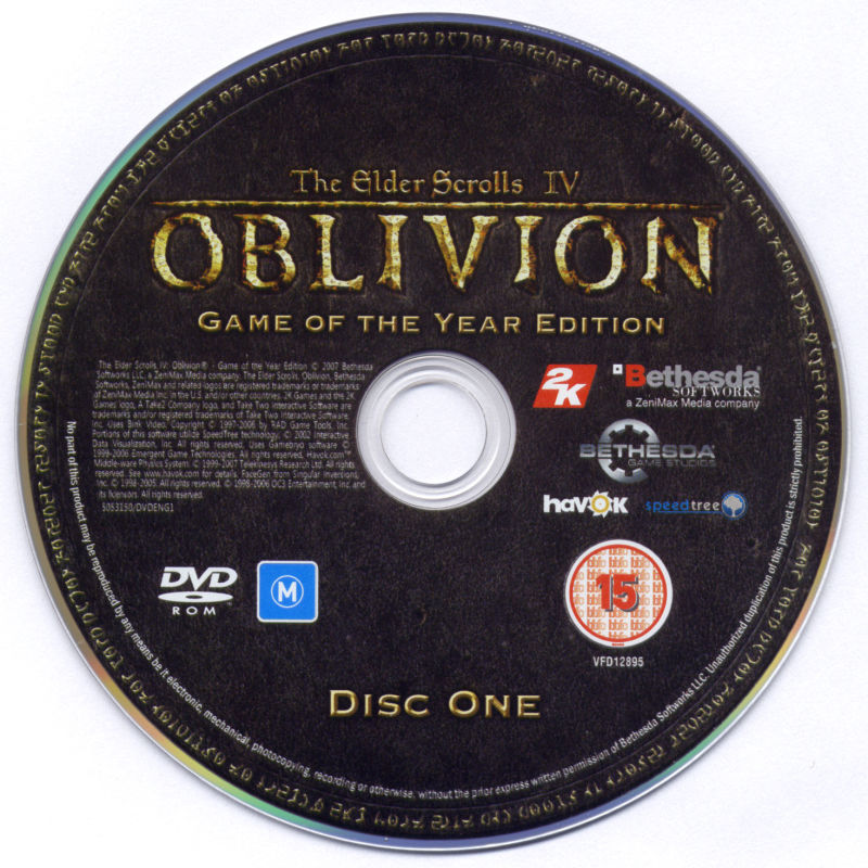 The Elder Scrolls IV: Oblivion - Game of the Year Edition Windows Media Disc 1/2