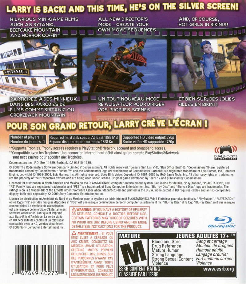 Leisure Suit Larry: Box Office Bust PlayStation 3 Back Cover